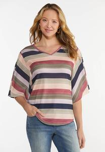 Plus Size Striped Flutter Sleeve Top