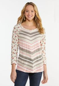 Plus Size Chevron Floral Top