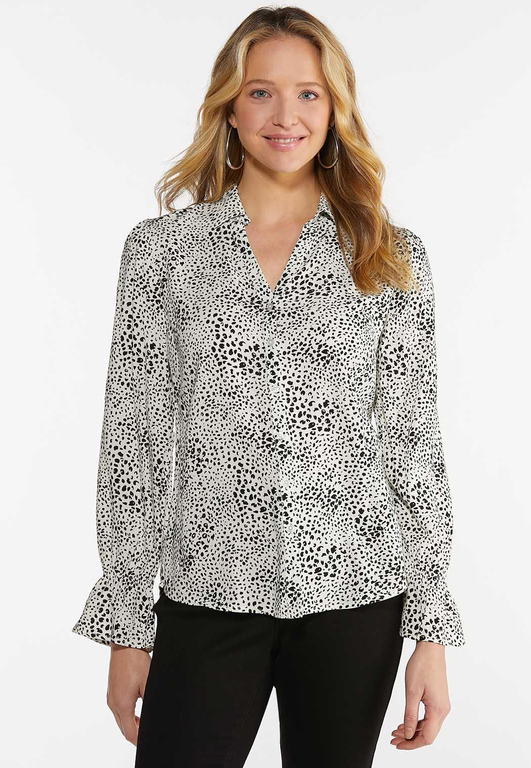 Plus Size Spotted High-Low Top