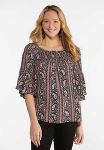 Paisley Boat Neck Top