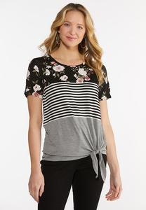 Plus Size Colorblock Stripe Floral Top