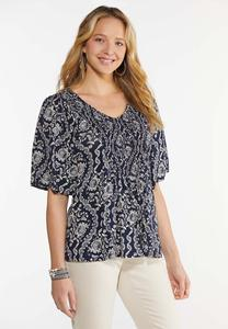 Plus Size Smocked Navy Floral Top
