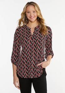 Plus Size Braided Print Top