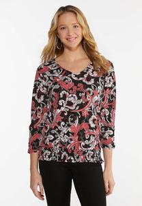 Plus Size Smocked Paisley Top