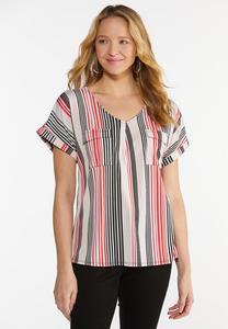 Plus Size Striped Utility Top