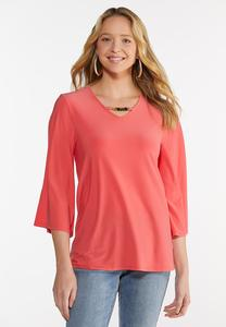 Plus Size Embellished Coral Tunic