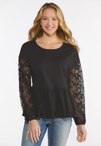 Plus Size Lace Sleeve Peplum Top