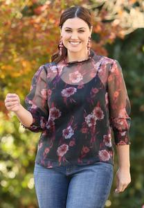 Plus Size Floral Organza Top
