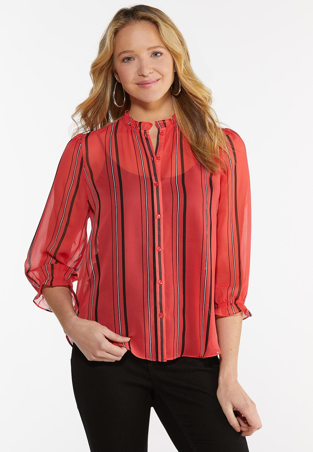 Plus Size Sheer Striped Top