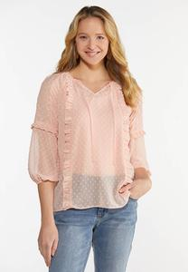 Plus Size Sheer Ruffled Poet Top
