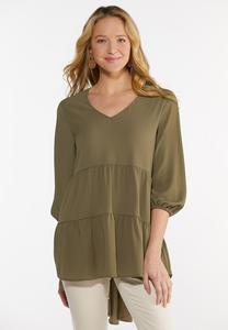 Plus Size Tiered Crepe Tunic