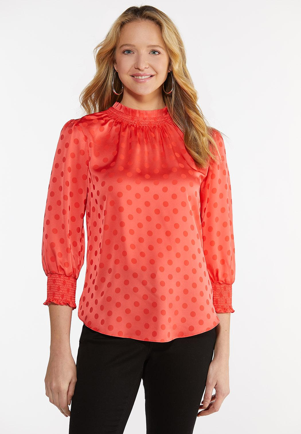 Plus Dotted Satin Mock Neck Top