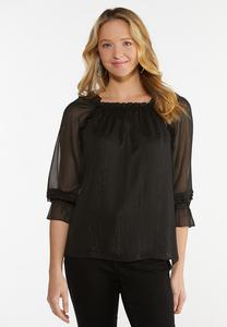 Plus Size Sheer Sleeve Poet Top