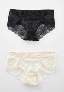 Plus Size Floral Lace Hipster Panty Set
