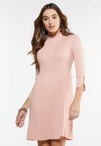 Plus Size Mock Neck Pleated Dress