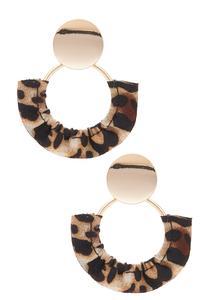 Ruffled Leopard Hoop Earrings