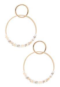 Rondelle Bead Interlocking Hoop Earrings