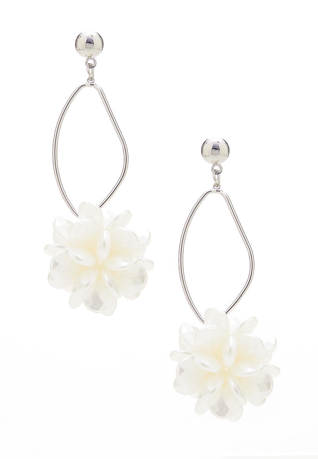 Flower Burst Hoop Dangle Earrings