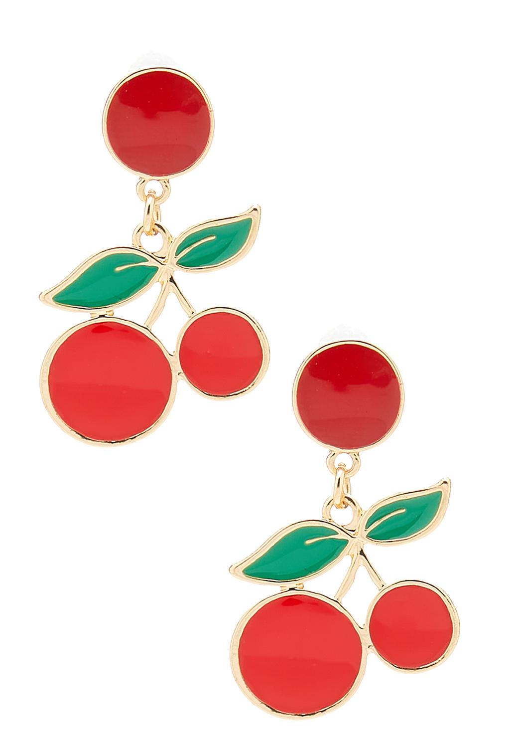 Cherry Enamel Earrings