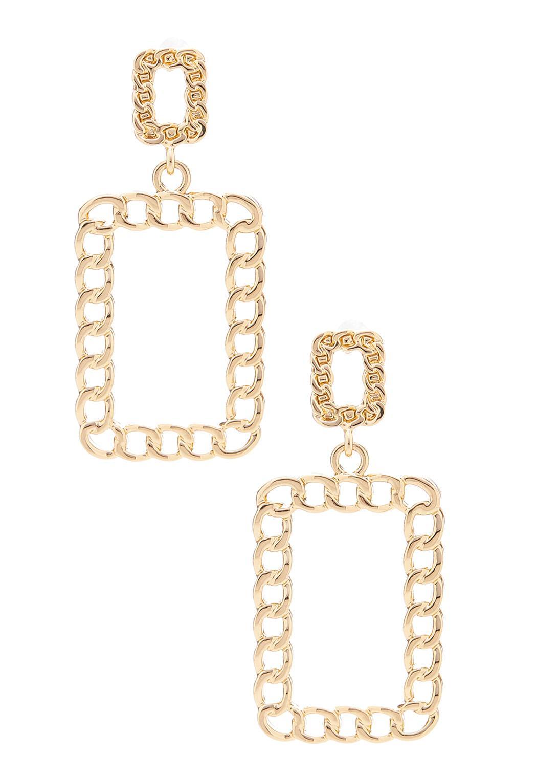 Rectangle Hoop Chain Earrings
