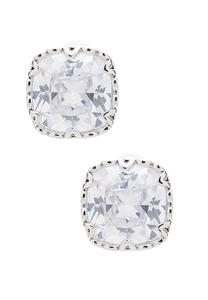 Cubic Zirconia Button Earrings