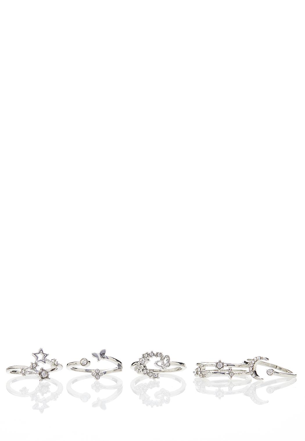 Silver Star Ring Set