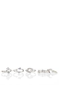 Silver Star Ring Set