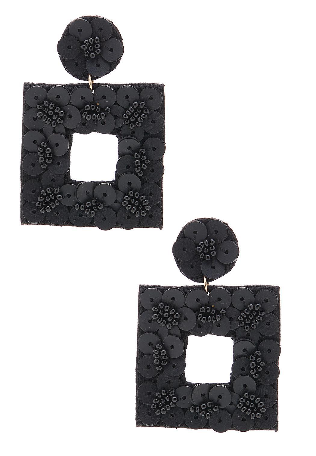 Black Fabric Back Earrings