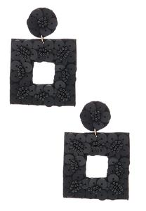 Black Fabric Back Earrings