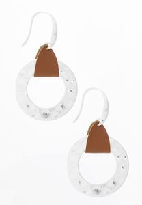 Faux Silver Circle Earrings