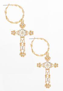 Twisted Hoop Cross Earrings