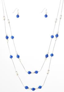 Navy Bead Earring Necklace Set