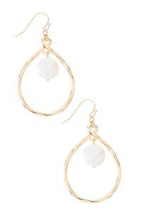Dangle Pearl Oval Earrings