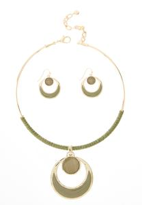 Green Cord Wrapped Necklace Set