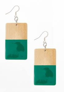 Emerald Dipped Wood Earrings