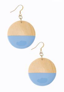Half Blue Wood Earrings