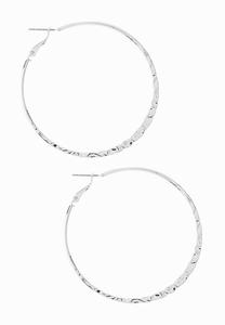 Textured Thin Hoop Earrings