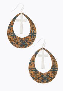 Floral Cork Cross Earrings