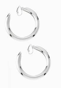 Chunky Silver Clip-On Hoop Earrings