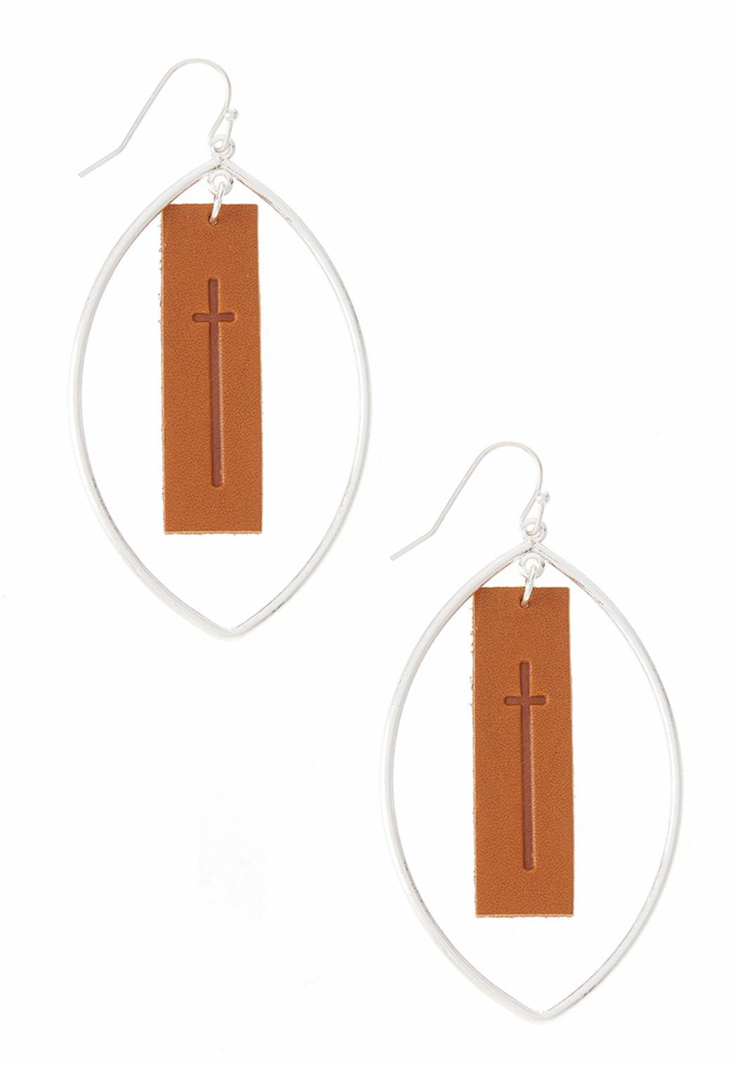 Faux Leather Cross Panel Earrings