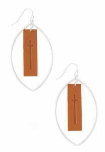 Faux Leather Cross Panel Earrings