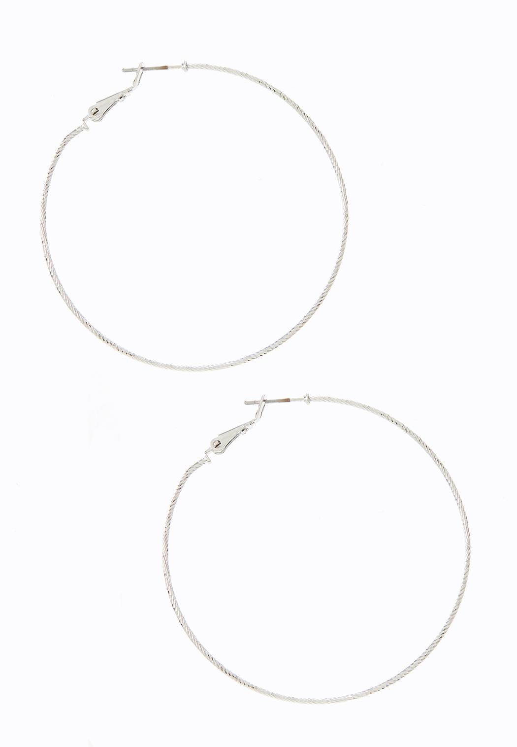 Fine Textured Hoop Earrings