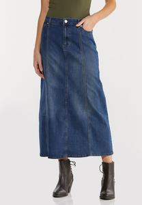 Plus Size Seamed Panel Denim Skirt