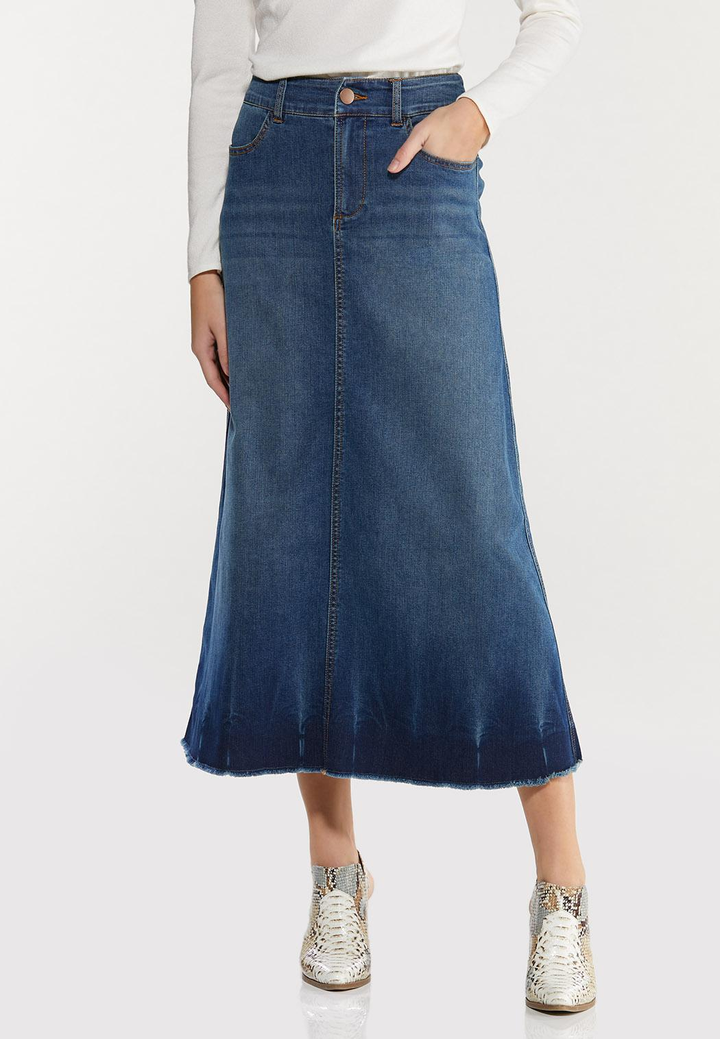 Plus Size Crinkle Hem Denim Skirt