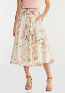Plus Size Brushed Floral Party Skirt
