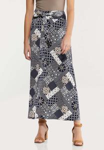 Petite Navy Patchwork Maxi Skirt