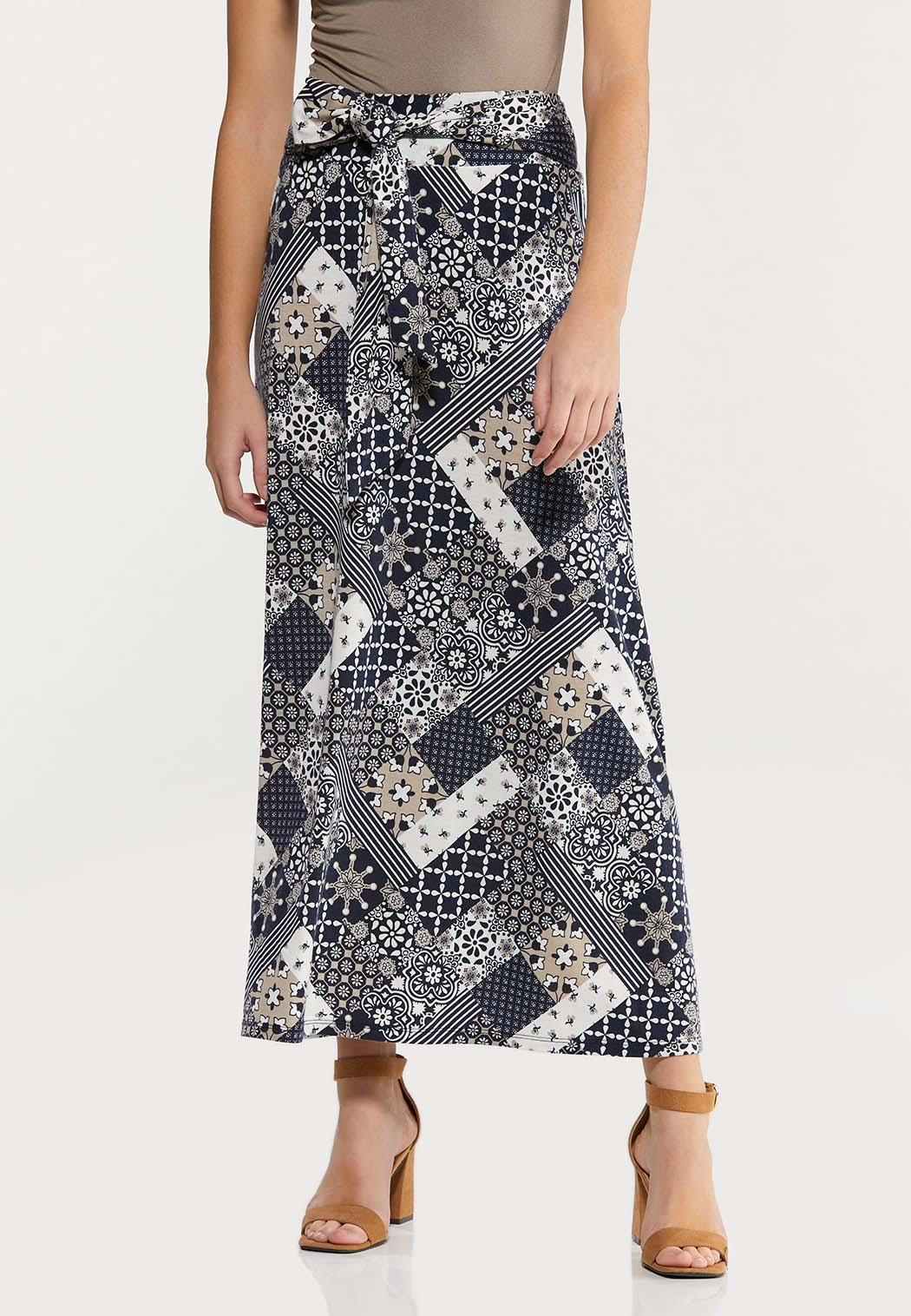 Plus Size Navy Patchwork Maxi Skirt