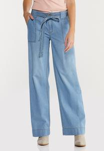 Belted Light Wash Jeans