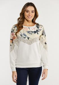 Floral Sequin Sweatshirt