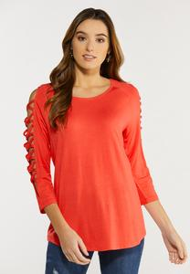 Plus Size Cutout Criss Cross Sleeve Top